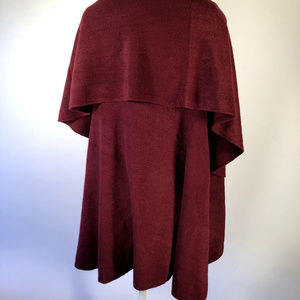 Long Red Burgundy soft Acrylic Sweater Jacket Cape